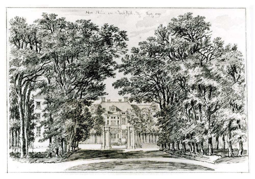 Paleis Soestdijk in Soestdijk. Tekening Jan de Beijer, 1749